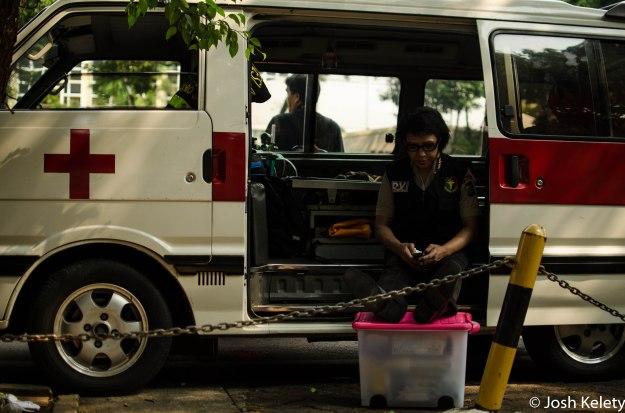 Ambulance awaits potential violence